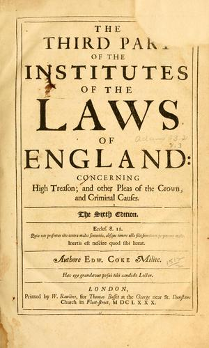 Download The third part of the Institutes of the laws of England