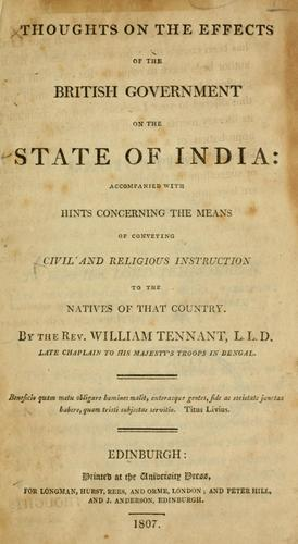 Download Thoughts on the effects of the British government on the state of India