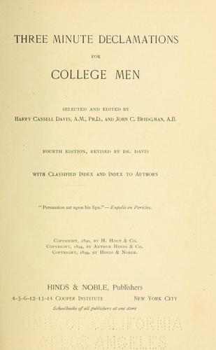 Download Three-minute declamations for college men