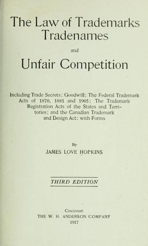 Download Law of trademarks, tradenames & unfair competition …