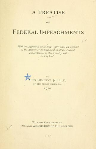 Download A treatise on federal impeachments