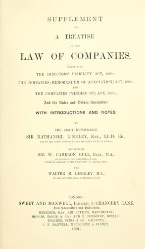 A treatise on the law of companies.