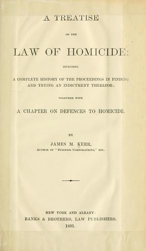 Download A treatise on the law of homicide