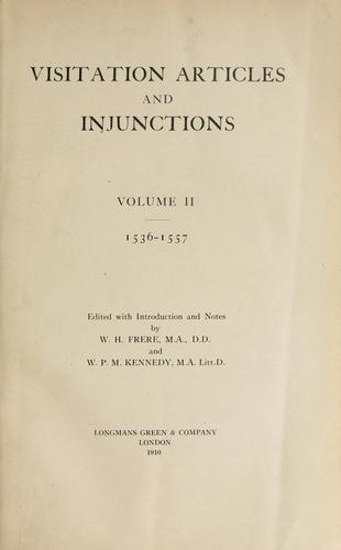 Download Visitation articles and injunctions