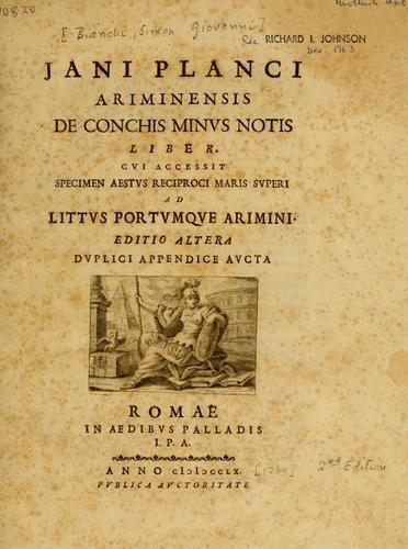 Download Jani Planci Ariminensis De conchis minus notis liber