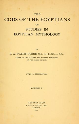 Download The gods of the Egyptians, or, Studies in Egyptian mythology