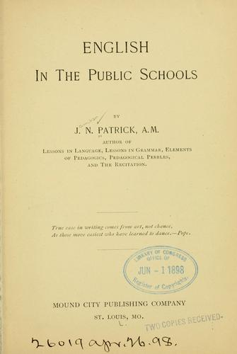 Download English in the public schools