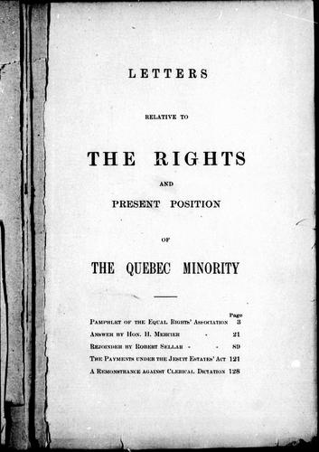 Download Letters relative to the rights and present position of the Quebec minority