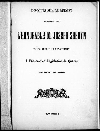 Download Discours sur le budget prononcé par l'Honorable M. Joseph Shehyn