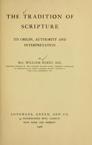 The tradition of Scripture