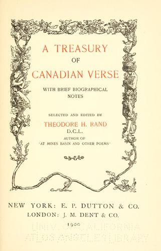 A treasury of Canadian verse