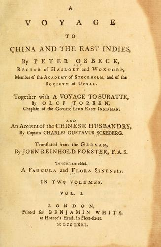 A voyage to China and the East Indies by Pehr Osbeck
