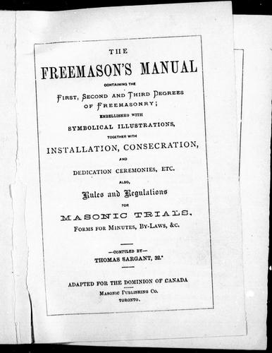 The Freemason's manual by Thomas Sargant