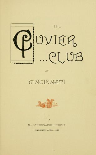 The Cuvier club of Cincinnati by Cuvier club of Cincinnati