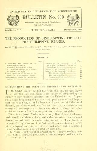 The production of binder-twine fiber in the Philippine Islands by Harry Taylor Edwards