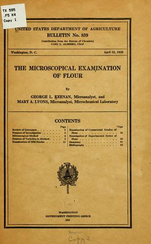 The microscopical examination of flour by George Lawrence Keenan